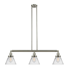 Large Cone 3-Light Island Light, Clear Glass, Satin Brush Nickel