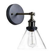 Industrial Edison Antique-Style Glass 1-Light Wall Sconce