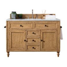 "Copper Cove 48"" Vanity, Driftwood Patina, 3cm Classic White Quartz Top"