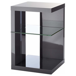 Modern Side End Table, Painted MDF, Clear Tempered Glass, Square Design, Grey