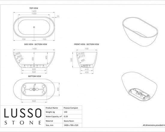 Lusso Stone Picasso Compact Stone Resin Solid Surface Freestanding Bath 1400 Products
