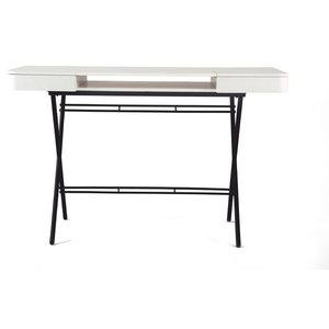 Cosimo Matte Brown Desk, Matte White Lacquered Top