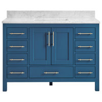 "Kendall Blue Bathroom Vanity, 48"", Vanity With Carrara Marble Top"