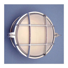 Small Round Bulkhead Cage Sconce (UL Listed / Indoor/Outdoor), Chrome, Interior