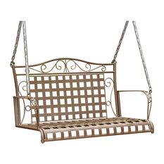 Mandalay Wrought Iron Patio Swing - Rustic Brown