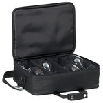 Ravenscroft Crystal - Ravenscroft Essentials Ultimate Bring Your Own Glasses Bag - The Ravenscroft Essentials Ultimate Bring Your Own Glasses Bag is a light-weight travel case that comfortably fits four standard wine glasses. This must-have case includes adjustable dividers protect your glasses and an adjustable shoulder strap with a double-snap grip. The lock-ready zipper will secure contents for travel. This is every wine collector's perfect accessory. This item is pictured with four Ravenscroft Classics Bordeaux glasses (glasses sold separately).