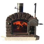 Authentic Pizza Ovens - Famosi Wood Fired Oven - I'm the Famosi! What is great about this oven is the versatility. While being a fabulous pizza oven it (like the Lisboa) is rotisserie capable. Being just a bit higher than the Pizzaioli or the Brazza it allows the space to fit a spit BUT more importantly it gives off a strong ambiance as the fire is much more visible (almost a fire feature/pit). The door of this oven is close to a square and is perfect for pizza's, casseroles, breads and mouth-watering rotisseries.