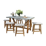 7-Piece Teak And Wicker Counter Height Dining Set, Gray Top/Saddle Stools