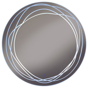 Swirl LED 70 cm Diameter Wall Mirror With Demister and Dimmer
