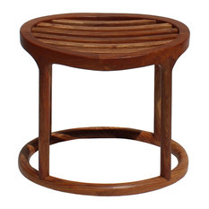 Chinese Oriental Brown Huali Wood Curve Seat Oval Stool Hcs4195