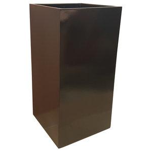Glossy Black Tower Fibreglass Planter, 30x30x60 cm, 30x30x60 Cm