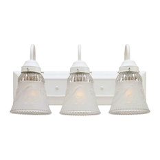 """Westinghouse 67533 3 Light 18"""" Wide Bathroom Fixture with Embossed Floral and L"""