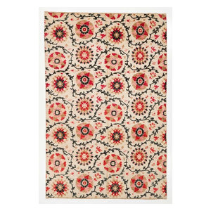 6x9 Rustic Red Coral Black Beige Ikat Rug Contemporary