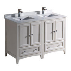 """48"""" Oxford Double Sink Bathroom Cabinet, Base: Antique White, With Top and Sink"""