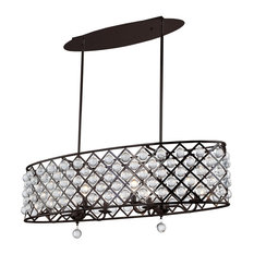 Carrie 6-Light Oval Chandelier With Crystal Balls, Espresso