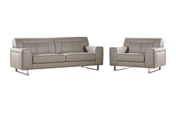 Vera Leatherette Sofa and Chair Set With Metal Leg, Sandstone
