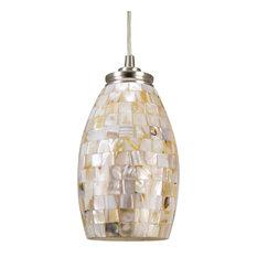 "Kira Home Coast 9"" Pendant Light + Hand-Crafted Mosaic Shell Glass, Satin Nickel"