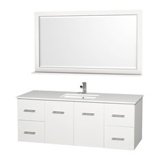 "Centra 60"" Single Bathroom Vanity , White, White Stone Top"