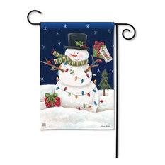 Snowman Lights Garden Flag