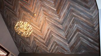 Reclaimed wood ceiling in a herringbone pattern
