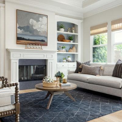 Beach style living room photo in Orange County