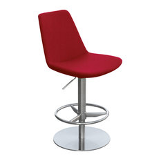 Eiffel Piston Stool, Bright Stainless Steel Base, Red Ppm