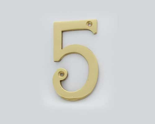 Cool House Numbers Solid Brass 4 Inch (100mm) Door Number 5 #2275