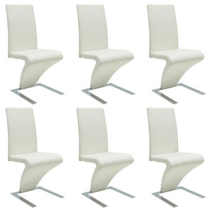 vidaXL Set of 6 Faux Leather Iron White Dining Chairs, Zigzag Shape