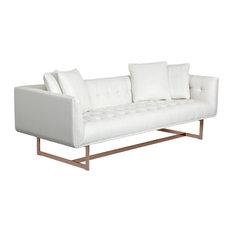 Sunpan 100620 Matisse Sofa, Rose Gold, White Leather W/4 Pillows