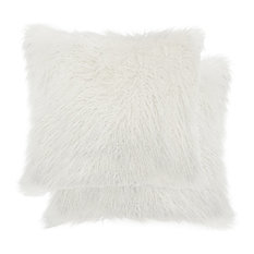 "Frisco Mongolian Sheepskin Faux Fur Pillows, Set of 2, Stone White, 20""x20"""