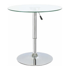 Modern Round Bar Table, Tempered Glass Top and Metal Leg, Adjustable Height
