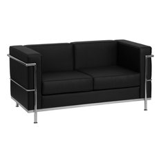 Hercules Regal Series Contemporary Leather Loveseat With Frame, Black,