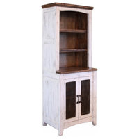 Greenview Solid Wood Mesh Door Bookcase - Distressed White