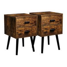 Set Of 2 Nightstand 2 Storage Drawers With Black Pulls Rustic Brown