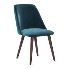 - Melrose Velvet Upholstered Dining Side Chair, Ocean Teal - Dining Chairs