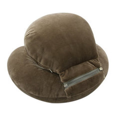 Travel Pillow Office Portable Napping Pillow Cervical Neck Pillow Brown