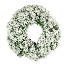 Artificial Green Pine Snow Effect Wreath, 45 cm
