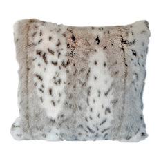 "Handmade Faux Snow Leopard Fur Throw Pillow, 21""x21"""