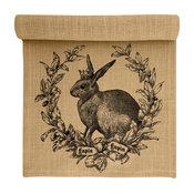 Rabbit Crest Burlap Table Runner