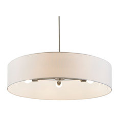Ziggy 5-Arm Chandelier In Brushed Nickel Finish With Natural Linen Shade