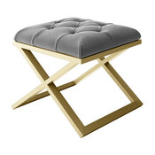 """Calix Modern Bench Gold Metal Frame With Tufted Gray Velvet Seat, 24"""""""