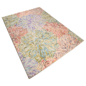 Wool Design Rug, Floral Pastel, 160x230 cm