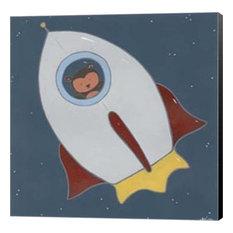 "Monkeys In Space Ii, Wrapped Canvas, Black Sides, 12""x12"""