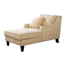 co fine furniture microfiber sloping track arms chaise lounge with lumbar pillow beige chez lounge furniture