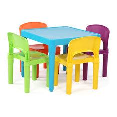 Kids Plastic Table & 4 Chairs, Aqua/Primary