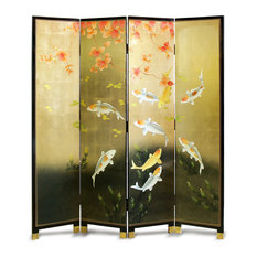 "Hand-Painted 72"" Prosperity Nine Koi Floor Screen"