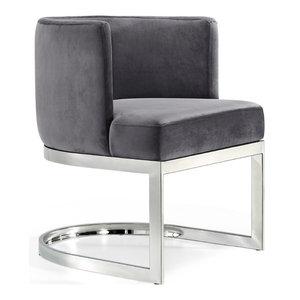 Gianna Velvet Dining Chair, Gray, Chrome Base