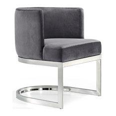 Meridian Furniture - Gianna Velvet Dining Chair, Gray, Chrome Base - Dining Chairs