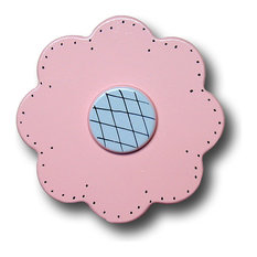 Lollipop Flower Wooden Drawer Pull, Pastel Pink