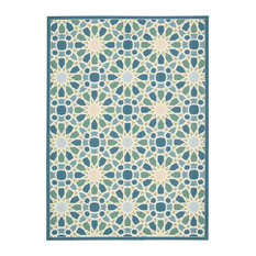 """Nourison - Waverly Sun and Shade Starry Eyed Indoor Outdoor Area Rug, Porcelain, 5'3""""x7'5"""" - Outdoor Rugs"""